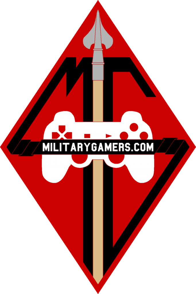 The MilitaryGamers.com Logo with a controller in the center, guideon in the back, and black ribbons spelling out the letters M and G